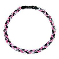 "18"" Titanium Tornado Baseball Necklace Pink Black and White"
