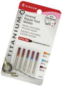 Singer Titanium Universal Regular Point Machine Needles for