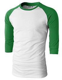TL Men's Baseball Crew Neck Cotton Long or 3/4 Sleeve