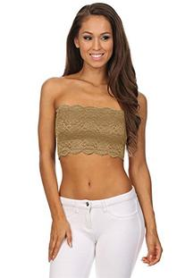 TL Women's Full Floral Lace Strapless Seamless Stretchy