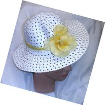 Girls Toddler Girls White Easter Hat Bonnet with Yellow Rose