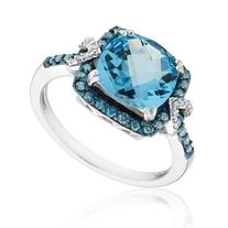 Blue Topaz, Blue And White Diamond Fashion Ring 1/3ctw -