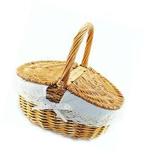 TOPOT Household Essentials Woven Willow Picnic Basket with