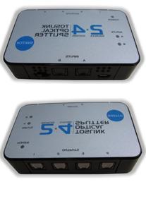 2x4 TOSlink Optical Audio Splitter Distribution Amplifier