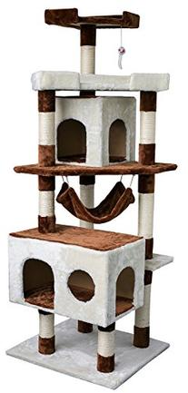 Merax Tower House with Condo Scratching Post for Cats