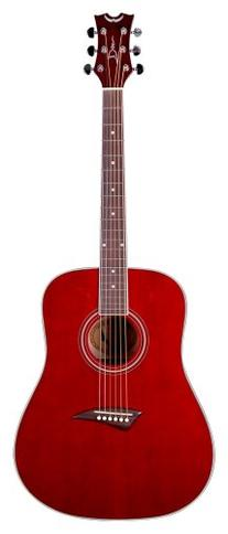 Dean Tradition Acoustic Guitar, Trans Red with Hardshell