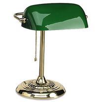 Ledu Traditional Incandescent Banker'S Lamp, Green Glass
