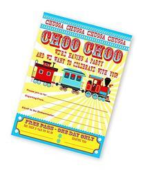 Train Party LARGE Invitations - 10 Invitations + 10