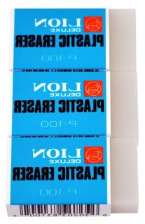 Lion Translucent White Plastic Erasers, 3 EA/Pack, 1 Pack