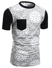 Hot trend Bandana Printed Short Sleeve 100%Cotton Tee Top