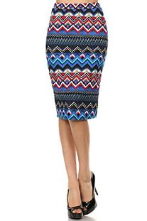 Trendy Print Stretch Pencil Skirt