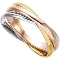 Tri-Color Three Wedding Band Ring Rolling Ring in 14k Yellow