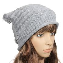 Women Girl Triangle Slouchy Knit Beret Beanie Hat Cap Light