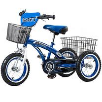 Tauki 12 Inch Kids Tricycle, Front and Rear Baskets, Hand
