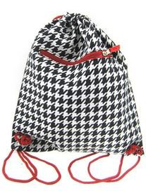 Red Trim Houndstooth Print Cinch Drawstring Backpack Purse