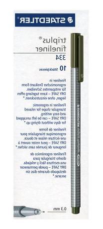 Staedtler Triplus Fineliner 334-57 Tips - Olive Green
