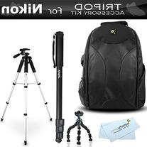 57 inch Tripod and Backpack Accessory Bundle Kit For Nikon