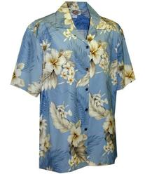 Tropical Floral Hibiscus and Plumeria Hawaiian Shirt
