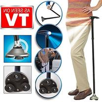 Trusty Cane LED Folding Walking Triple Head Pivot Base