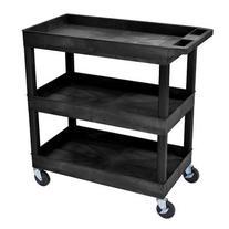 "Luxor 32"" x 18"" Tub Storage Cart 3 Shelves - Black"