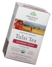 Organic India Tulsi Raspberry Peach, 18 Count Boxes