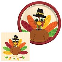 Turkey Fun Dessert Napkins & Plates Party Kit for 8