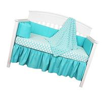 Turquoise and White Ogee 4 Piece Baby Crib Bedding Set