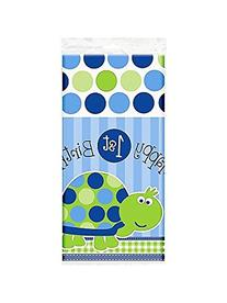 Turtle 1st Birthday Plastic Tablecover