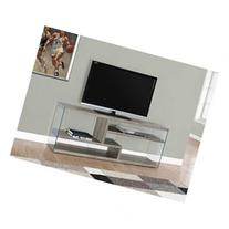 TV Stand in Dark Taupe with Tempered Glass Top