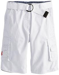 U.S. Polo Assn. Big Boys' Twill Belted Cargo Shorts, White,