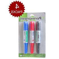 Officeship Twin Chisel Tip Permanent Marker, Pack-3 Colors