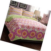 Twin Size Teen Kids Girls Floral Pink Green Quilt Bedding