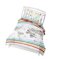 Twin World Map Reversible Duvet Cover Set with 1 Pillowcase