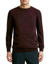 Topman Twist Essential Crew Neck Sweater-BURGUNDY-Small