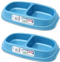 Two Pack Small Double Pet Bowls Aqua Marine 16oz / 0.5L