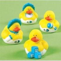 Two Dozen  Blue BOY Mini Rubber Ducky Duck Baby Shower