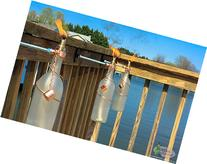 Two 750ml Frosted Wine Bottle Tiki Torches - Garden Gifts -