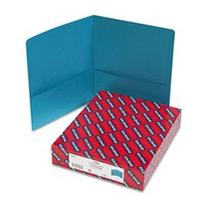 * Two-Pocket Portfolio, Embossed Leather Grain Paper, Teal,