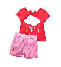 Juicy Couture Girls Two Piece Rain Cloud Tee Top & Shorts