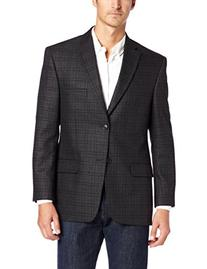 Haggar Men's Glen Plaid Sport Coat, Charcoal Heather, 48 R