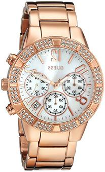 GUESS Women's U0141L3 Dazzling Sporty Crystal Rose Gold-Tone