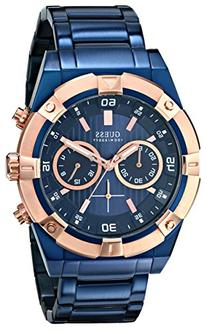 GUESS Men's U0377G4 Sporty Blue Stainless Steel Multi-