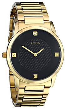 GUESS Men's U0428G1 Sleek Gold-Tone Watch with Diamond