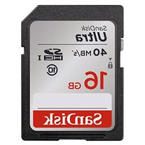 SanDisk Ultra 16GB Class 10 SDHC Memory Card Up To 40MB/s-