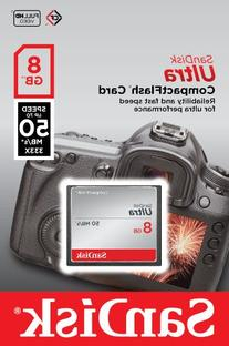 SanDisk Ultra 8GB CompactFlash Memory Card Speed Up To 50MB/