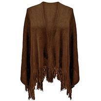 Luxury Divas Brown Ultra Soft Knit Poncho Shawl Wrap With