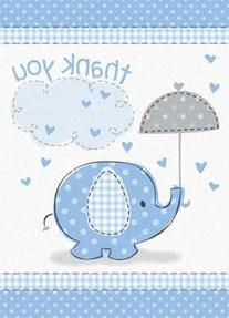 Umbrella Elephant Boy Baby Shower Thank You Notes w/