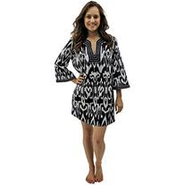 Black & White Unique Ikat Print Swimsuit Beach Cover-Up