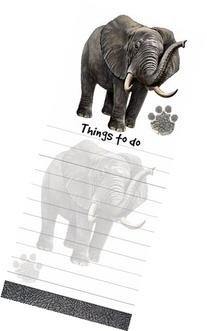 """Elephant Magnetic List Pads"" Uniquely Shaped Sticky Notepad"