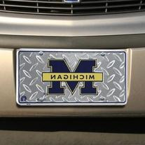 University of Michigan Diamond License Plate Tin Sign 6 x